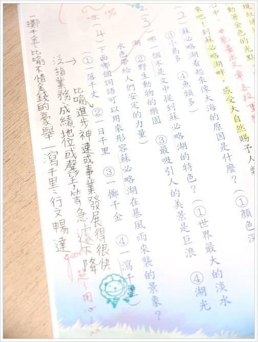 ※ 蝴蝶小五的作業之一 ——國文習作內頁。