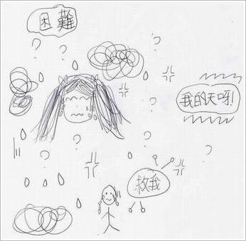 ※ 荳芽寫完練習卷後,自我排遣的圖畫。